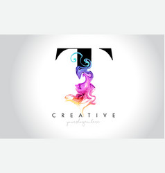 T vibrant creative leter logo design vector