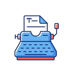 typewriter rgb color icon vector image