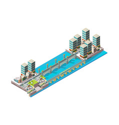 Urban river city landscape with low poly vector