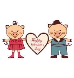 Valentine pigs vector image