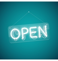 White Glowing Neon Open Sign vector image