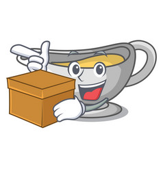 With box sauce boat cartoon with tasty cheese vector