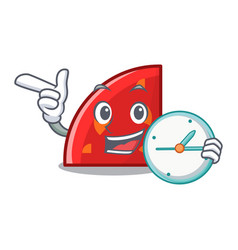 With clock quadrant character cartoon style vector