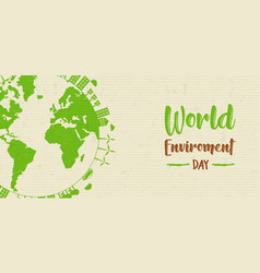 world environment banner green earth globe vector image