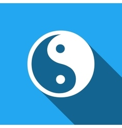 Yin Yang symbol icon with long shadow vector image vector image