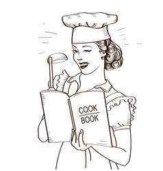young woman chef holding cook book in her hands vector image