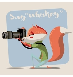 cartoon fox with camera vector image
