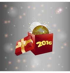 Christmas gift box and disco ball background vector image
