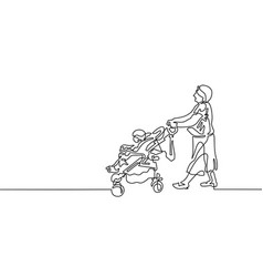 continuous one line drawing of grandmother is vector image