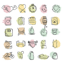 set of hand drawn healthy lifestyle icons set set vector image