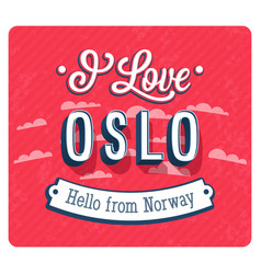 vintage greeting card from oslo vector image vector image