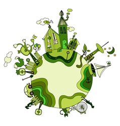 around the green bio world vector image vector image