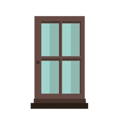 colorful silhouette with door of wood and glass vector image vector image