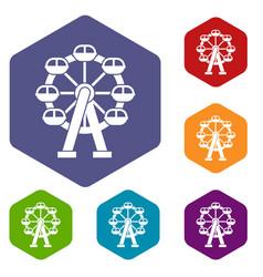 ferris wheel icons set vector image