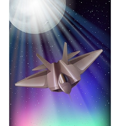 Fighting jet flying at night vector image