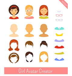 girl avatar creator and female avatars set vector image vector image