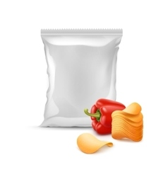 Potato Chips with Paprika and Plastic Foil Bag vector image
