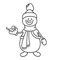 snowman and bird vector image