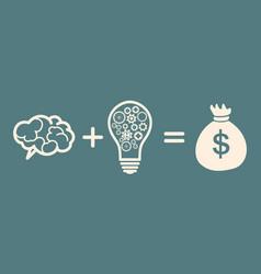 idea is money concept brain idea money vector image
