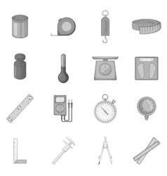 Measure tools icons set monochrome style vector image