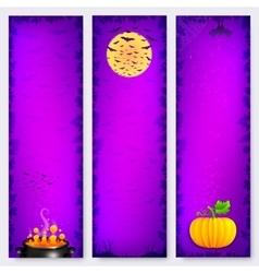 Purple Halloween banners backgrounds set vector image vector image