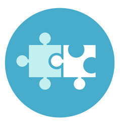 puzzle pieces icon on round blue background vector image