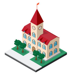 town hall building with clock on the tower vector image