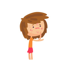 Unhappy girl suffering from rash on her body vector
