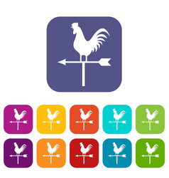 Weather vane with cock icons set vector