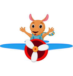 kangaroo cartoon riding a plane vector image vector image