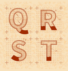 medieval inventor sketches of q r s t letters vector image vector image