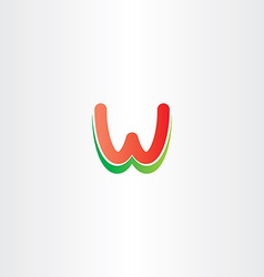 red green letter w logo design stylized icon vector image vector image