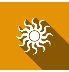 Sun-sign icon with long shadow vector