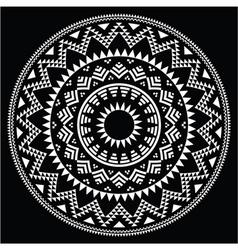 Tribal folk round Aztec geometric pattern on black vector image vector image