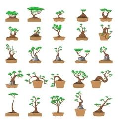 25 Cartoon bonsai trees set vector
