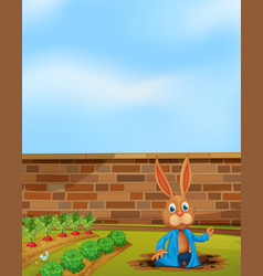 a rabbit digging hole next to farm vector image