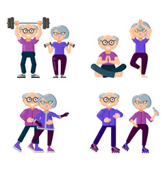 active older people are engaged in sports set of vector image