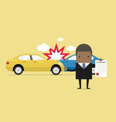 African businessman shows car insurance vector