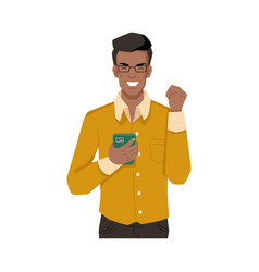 Afro american man happy from incoming message call vector