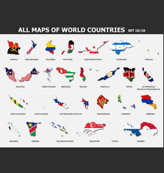 All maps world countries and flags set 10 vector