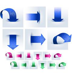 Arrows data binary pocket download upload set vector