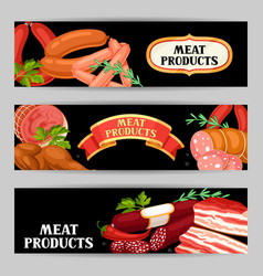 banners with meat products of vector image