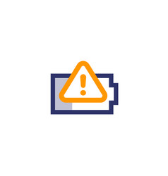 Battery warning icon on white vector