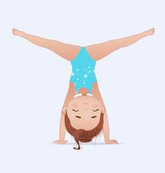 beautiful girl doing handstand and split vector image
