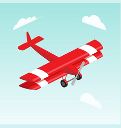 biplane airplane isometric vector image