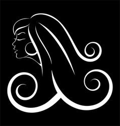Black and white outline girl curly hair vector image