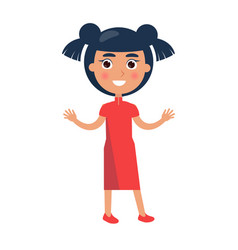 Brunette girl greets with children day isolated vector