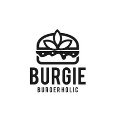 Burger with leaf decoration vector