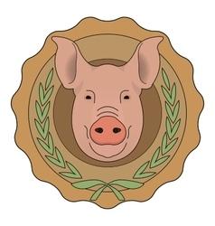 Butchery eco logo Pig head in laurel wreath vector