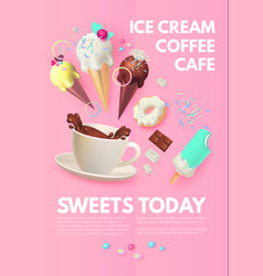 Cafe ad design template coffee sweets and ice vector